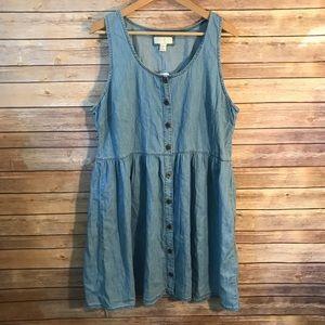 Forever 21 Plus Size Denim Chambray Shirt Dress 1X